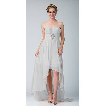 Silver Bridesmaid High Low Dress A Line Chiffon Sweetheart