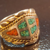 Native American Sterling Silver Ring with Turquoise & Coral  - Size 9.5 - 12.2 grams