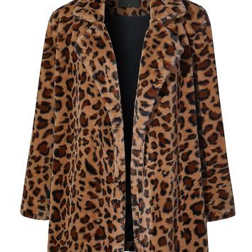 LE3NO Womens Oversized Leopard Long Sleeve Open Front Coat Jacket with Pockets