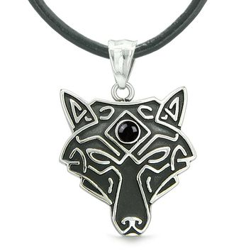 Celtic Wolf All Seeing Third Wisdom Eye Protection Amulet Simulated Black Onyx Pendant Leather Necklace