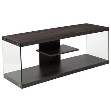 Cedar Lane Collection Wood Grain Finish TV Stand with Shelves and Glass Frame