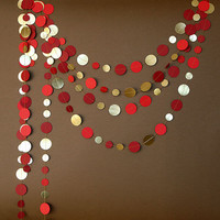 Gold red garland, Gold garland, Red wedding bunting decoration, Metallic garland, KM-C-0010, Paper garland, Metallic garland