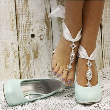 COSMOPOLITAN bow tie barefoot sandals - white