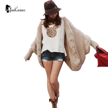 Autumn Winter Women Warm Cardigan Sweater 2016 Female Solid Colors Knitting Bat Sleeve Cardigan Loose Shawls Thicken Coat