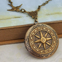 GUIDANCE antique brass vintage style compass locket necklace