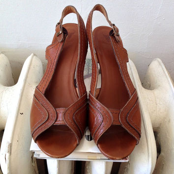 90s FRYE leather peep toe slingback heels // size 9 B