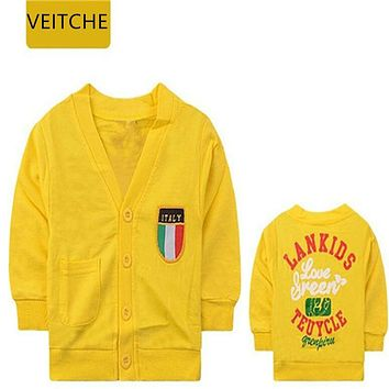 VEITCHE Spring autumn girls clothes long-sleeve letter print 100% cotton knitted t-shirts children boy clothing kids tops 0-2Y