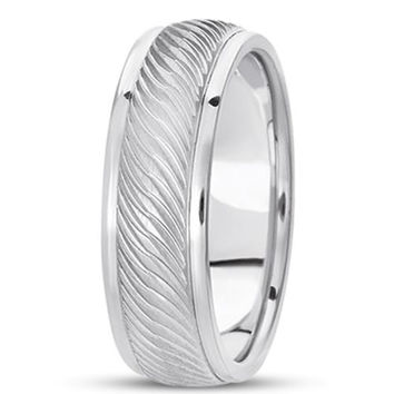 14K Gold Mens Fancy Weavy Wedding Band (7mm)