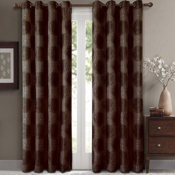 Chocolate Leington Pair (Two Panels ) Jacquard Grommet Window Curtain Panels