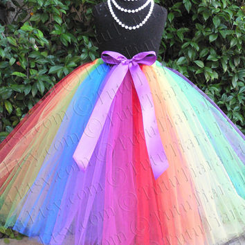 "Rainbow Flower Girl Tutu for Weddings Birthdays Tutu Skirt for Girls Babies Toddlers Less Full Tutu Rainbow Circus Tutu Up to 20"" Long"