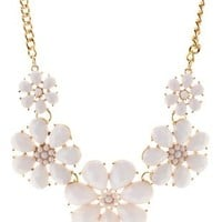 White Faceted Stone Flower Bib Necklace by Charlotte Russe