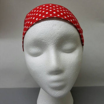 Headband - with - elastic - polka - dot - rockabilly - pinup - retro - vintage - style