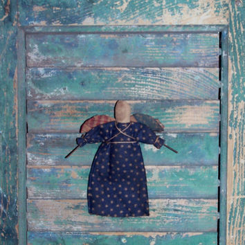 Primitive Angel Ornament, Early Style Ornament, Blue Flannel Dress with Stars, Handmade in the USA