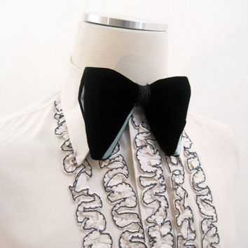 Vintage 70s Bow Tie BLACK Velvet Blue Satin Butterfly Formal Prom Bowtie