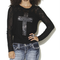 Slub Studded Cross Sweater | Shop Tops at Wet Seal