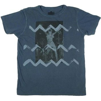David Bowie Men's  Zig Zag T-shirt Blue
