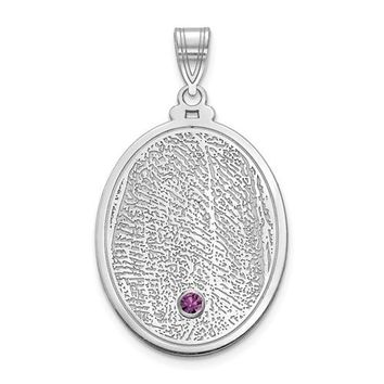Personalized Fingerprint with Crystal Birthstone Charm Pendant