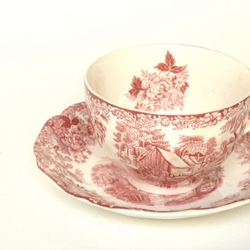 Vintage Teacup and Saucer - Red and White Teacup - Kitchen Decor - British Teacups -  Shabby Chic - Wedding Gift