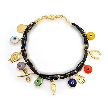 Evil Eye Charms Black Leather Bracelet 14K Gold Plated Sterling Silver
