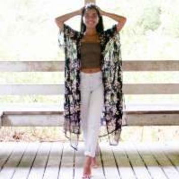 Black Roses Kelsey Kimono by Natural Life