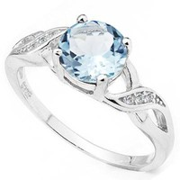 Sterling Silver Genuine Sky Blue Topaz Ring