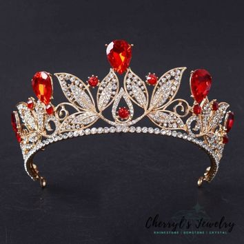 Gold plated Crystal Tiara in Red, Blue, Green or Clear