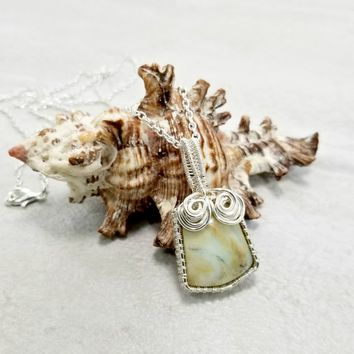 Petrified Wood Necklace - Earthy Jewelry - Wire Woven Pendant - Unusual Necklace - Wire Wrapped Jewelry - Gift Idea