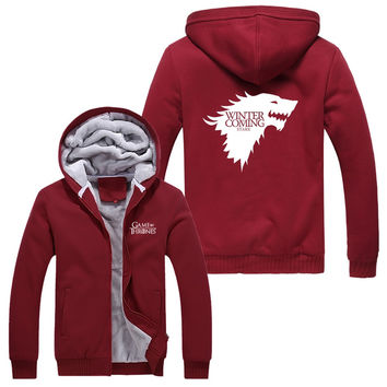 RED A Song of Ice and Fire Zip Hoody Game of Thrones Black Hooded Jacket House Stark Thick Coats  Unisex plush Sweater  hoodie