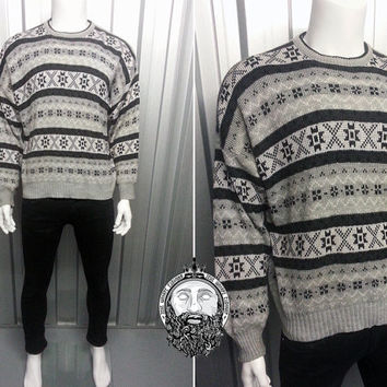 80s Grey Ironic Oversized Christmas Jumper Grandad Sweater Jumper Sweatshirt Baggy Slouchy Fairisle Hipster Indie Bill Cosby Sweater