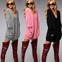 Deep V-neck Fashion Casual Long Sleeves Bodycon Sweater