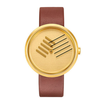"""Gold Tone """"On The Right Track"""" Timepiece"""
