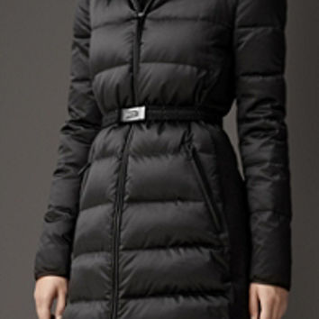Fur Trim Technical Satin Puffer Coat