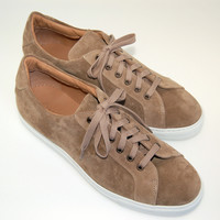 MAN SNEAKERS -10 eu - BEIGE SUEDE - CAMOSCIO BEIGE-STITCHED WHITE RUBBER SOLE