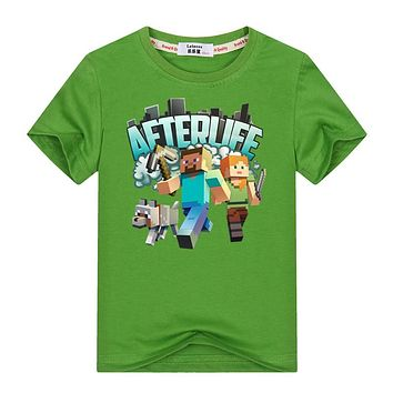 Minecraft Run Away Youth T-Shirt 3-13y Kids Adventure T Shirt 100% Cotton Boys Girls Video Game Tees Tops