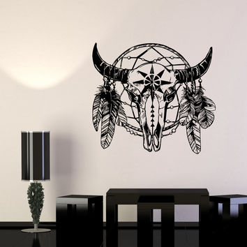 Wall Decal Dreamcatcher Feathers Skull Horn Symbol Magic Luck Vinyl Sticker Unique Gift (ed664)