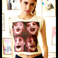 Joker Shirt Crop Top Tank Tops Women Girl Sexy Off White Cream Color Fitting Size S M