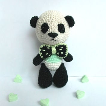 Mr. panda Miniature mint panda  bear /Tiny crocheted toy / Amigurumi teddy / Cute stuffed toy for kids