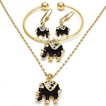 Gold Layered Necklace, Bracelet and Earring, Elephant Design, with Crystal, Golden Tone