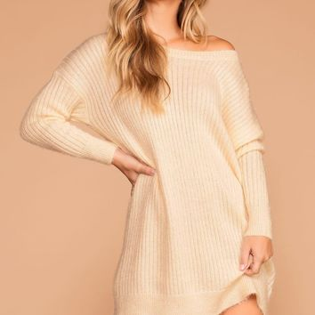 Cold Outside Ivory Knit Sweater Dress