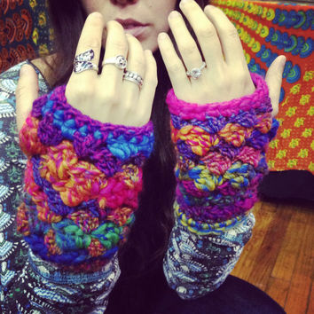 Handmade Crocheted Fingerless Gloves, Arm Sweaters, Bulky Arm Warmers, Wristers, Wrist warmers, Hand warmers, Thermal Warmers, Tribal Cuffs