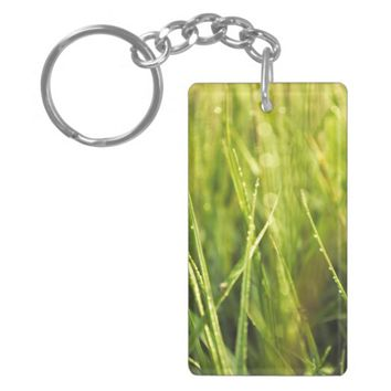 colourful green natural outdoor abstract design keychain