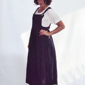 Navy Boho Overalls Jumper Maxi Dress S, M Hippie Maxi Dress Layering Look