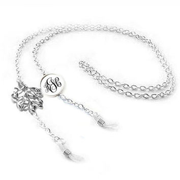 Antiqued Silver Tree Monogram Eyeglass Chain Holder, Eyeglass lanyard, reading glasses chain