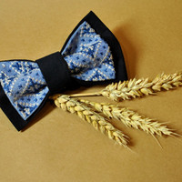 Embroidered men bow tie Blue navy grey pre tied bow tie Wedding bow tie Groomsman pre-tied bow tie Eco friendly cross-stitch