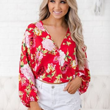 Fool For You Floral Top (Red/Ivory/Olive)