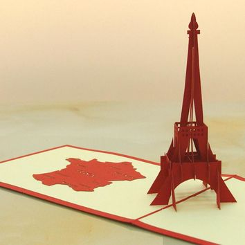 3D Pop Up Folk Art Gift Greeting Cards red Paris Eiffel Tower Handmade birthday CARDS KT0268