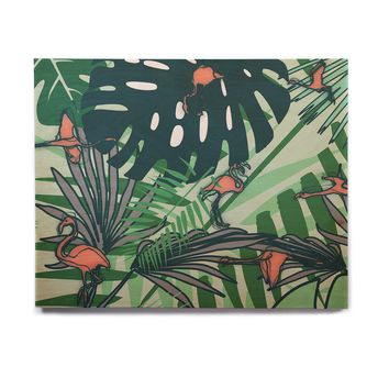 "bruxamagica ""Flamingo And Tropical Leaves"" Green Coral Animals Nature Illustration Digital Birchwood Wall Art"