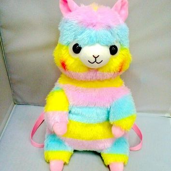 Free shipping Amuse 45cm Rainbow Alpaca Sheep Plush Backpack Cartoon Soft Doll School Bag Kid Satchel For Gift