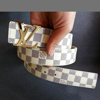 LV Tide brand classic checkerboard men and women models wild smooth buckle belt White
