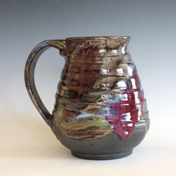 EXTRA LARGE 28 oz Coffee Mug, handthrown ceramic mug, stoneware pottery mug, unique coffee mug